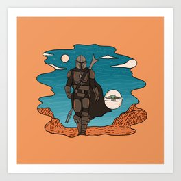 """Mando and The Child in the Canyon"" by Doodle by Meg Art Print"
