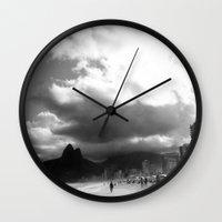 rio de janeiro Wall Clocks featuring High Rio de Janeiro by Bob Pestana