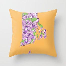 Rhode Island in Flowers Throw Pillow