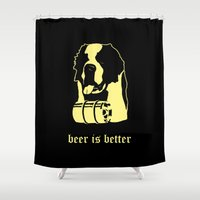 beer Shower Curtains featuring Beer by Andrea Bettin ART