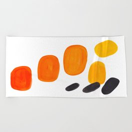 Mid Century Modern Colorful Minimal Pop Art Yellow Orange Ombre Rainbow Gradient Pebble Ovals Beach Towel