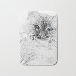 Siberian Kitty Cat Laying on the Marble Slab Bath Mat