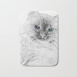 Siberian Kitty Cat Laying on the Marble Slab Bath Mat