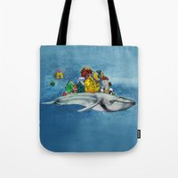 the whale Tote Bags featuring whale by Кaterina Кalinich