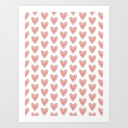 I Heart You in Pink and Coral Art Print