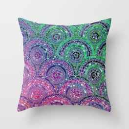 Pink Purple Blue and Green Sparkling Glitter Circles and Dots Throw Pillow
