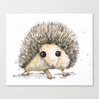 hedgehog Canvas Prints featuring Hedgehog by Bwiselizzy