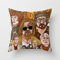 the big lebowski Throw Pillows featuring The Big Lebowski by David Amblard