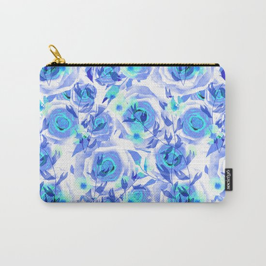 Blue and light blue floral background . Carry-All Pouch