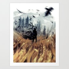 crows in the field Art Print