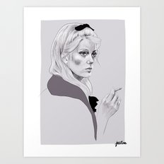 Catherine Deneuve - French girl with a cigarette Art Print