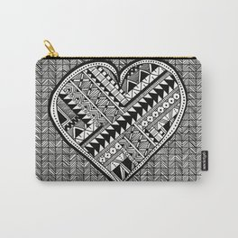 Modern, black and white, geometric shaped heart Carry-All Pouch