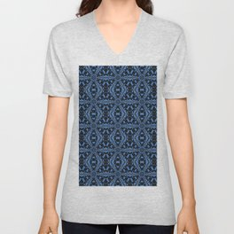 Classic Blue Black and Denim Geometric Tile Pattern Unisex V-Neck