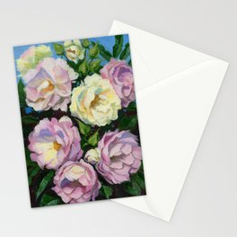 White Pink Roses Garden Flowers gouache painting Stationery Cards