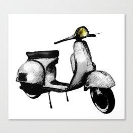 White Vespa Scooter Canvas Print