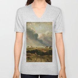 John Constable - Windmills in landscape Unisex V-Neck