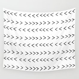 linocut Mudcloth grey and white minimal modern chevron arrows pattern gifts dorm college decor Wall Tapestry