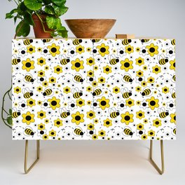 Honey Bumble Bee Yellow Floral Pattern Credenza