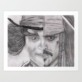 The Many Faces Of Depp Art Print