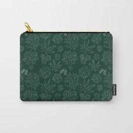 Dark Green Succulent Flower Garden Carry-All Pouch