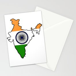 India Map with Indian Flag Stationery Cards