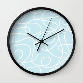 Doodle Line Art | White Lines on Palest Blue Wall Clock