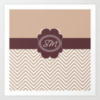 monogram Art Prints featuring Monogram by My Studio