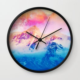 Another Dream, Photography Digital Collage, Nature Landscape Snow Mountain Travel Graphic Design Wall Clock