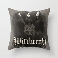 witchcraft Throw Pillows featuring Witchcraft by Corpse inc