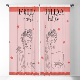 Frida kahlo art print, pink and red feminism print Blackout Curtain
