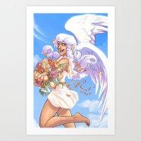 daunt Art Prints featuring Angel Bloom by Daunt
