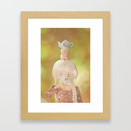 Drinking tea with with piggie and teapot on head Framed Art Print