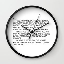Anonymous Letter to Sammi Wall Clock