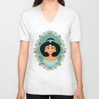 jasmine V-neck T-shirts featuring Jasmine by Joey Ellson