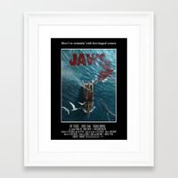 1975 Framed Art Prints featuring Jaws - 1975 variant by Andy Fairhurst Art