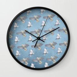 Snowy owl flight pattern BLUE Wall Clock