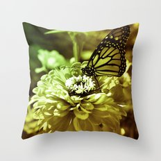 Butterfly on Flower - Color Throw Pillow