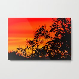 Silhouette of leaf with red autumn sky #decor #society6 Metal Print