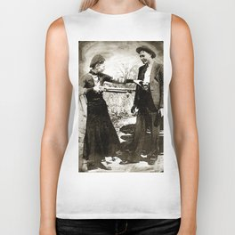 Painting Of Bonnie And Clyde Mock Hold Up Black And White Mugshot Biker Tank