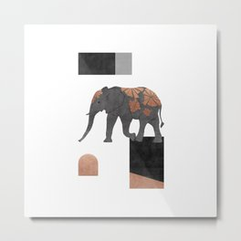 Elephant Mosaic II, Animals Metal Print