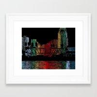 cincinnati Framed Art Prints featuring Cincinnati Nights by Tambergal