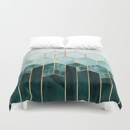 Teal Hexagons Duvet Cover