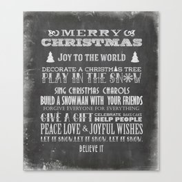 Christmas Chalk Board Typography Text Canvas Print