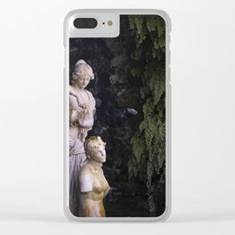 Sculpted Serenity - Sculptures Amidst Lush Groves Clear iPhone Case