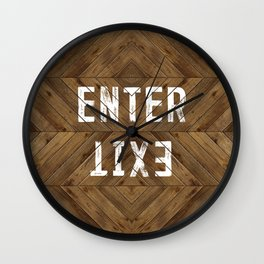 Enter Exit Wood Chevron Wall Clock