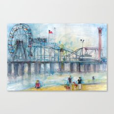 Altantic City, New Jersey - Roller Coaster - Ferris Wheel - Watercolor Painting Canvas Print