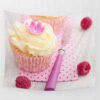 cupcakes Wall Tapestries featuring Two cupcakes by Elisabeth Coelfen