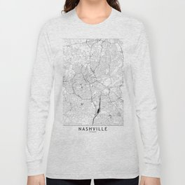 Nashville White Map Long Sleeve T-shirt