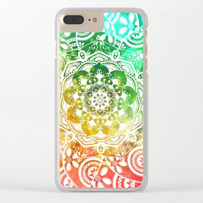 'Tropical Soul' Blue Green Yellow Pink Mandala Clear iPhone Case