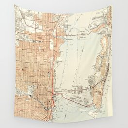 Vintage Map of Miami Florida (1950) Wall Tapestry